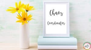 Quote in frame reading Chaos Coordinator