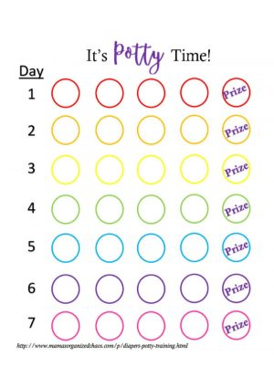 Potty training rainbow rewards chart