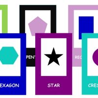 6 colorful shape flashcards