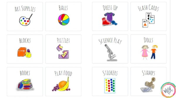 12 toy bin labels with illustrations and words